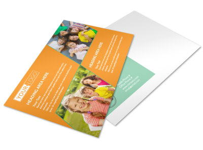 Kids Christian Child Care Postcard Template preview