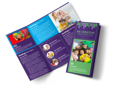 Little Stars Daycare Tri-Fold Brochure Template preview