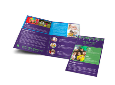 Little Stars Daycare Bi-Fold Brochure Template preview