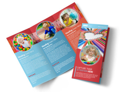 Early Preschool Childcare Tri-Fold Brochure Template preview