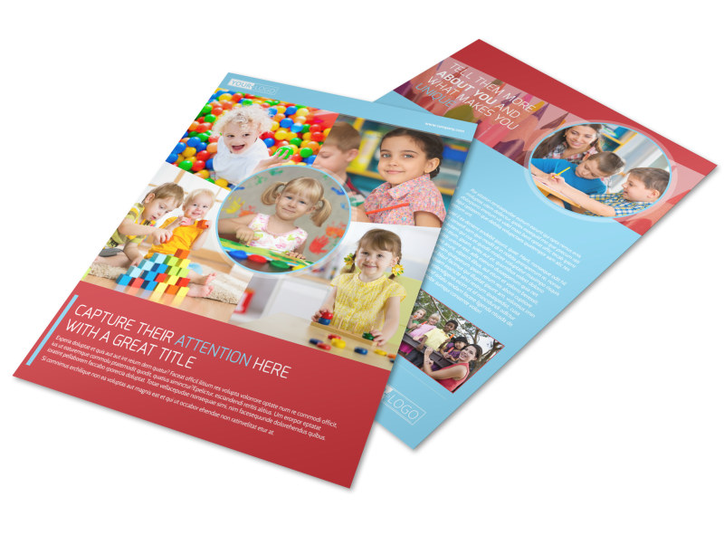 Early Preschool Childcare Flyer Template  Mycreativeshop