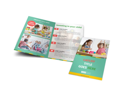 Happy Daycare Bi-Fold Brochure Template preview