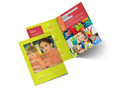 Preschool Childcare Program Bi-Fold Brochure Template