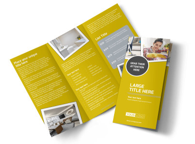 Housekeeping Service Tri-Fold Brochure Template preview
