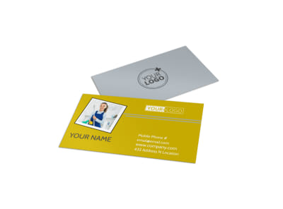 Housekeeping Service Business Card Template preview