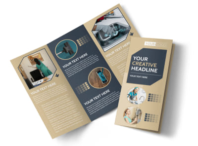 Commercial Cleaning Professionals Tri-Fold Brochure Template preview