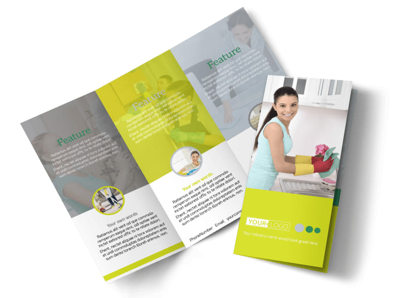 Bright Shine Cleaners Tri-Fold Brochure Template