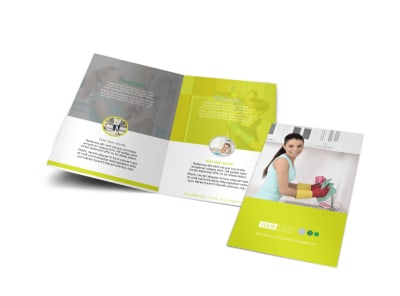 Bright Shine Cleaners Bi-Fold Brochure Template preview