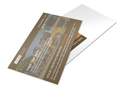 Construction Equipment Supplier Postcard Template preview