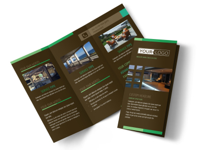 Backyard Construction Tri-Fold Brochure Template preview
