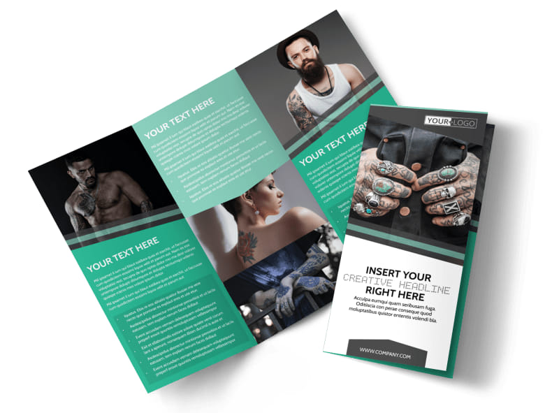 Professional Tattoo Artist Tri-Fold Brochure Template