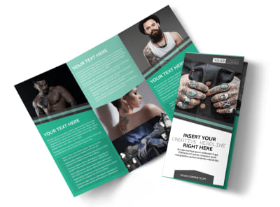 Professional Tattoo Artist Tri-Fold Brochure Template preview