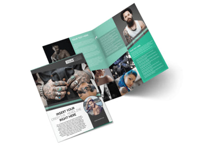 Professional Tattoo Artist Bi-Fold Brochure Template preview