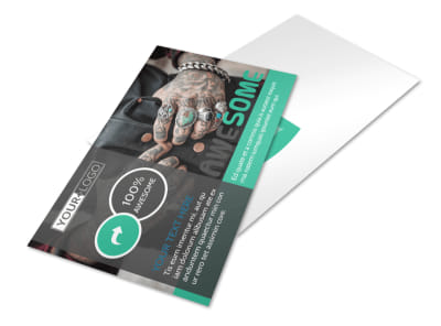 Professional Tattoo Artist Postcard Template preview