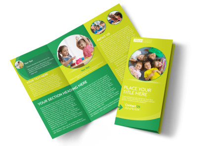 Child Care Learning Center Tri-Fold Brochure Template preview
