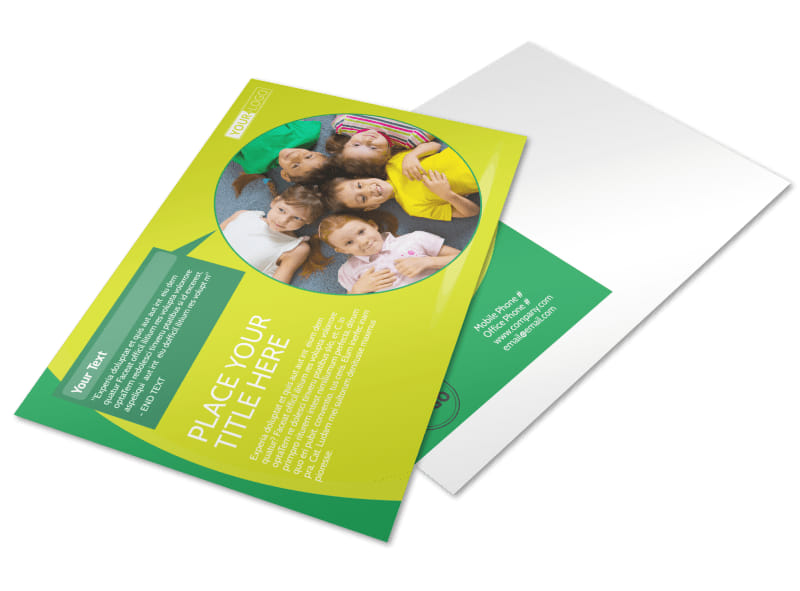 Child Care Learning Center Postcard Template