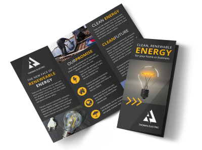 Renewable Energy Tri-Fold Brochure Template preview