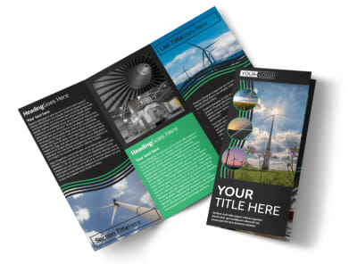 Wind Turbine Tri-Fold Brochure Template preview