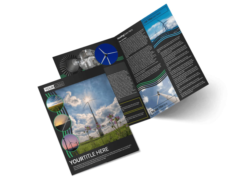 Wind Turbine Bi-Fold Brochure Template