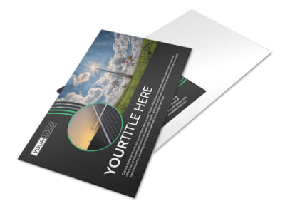 Wind Turbine Postcard Template preview