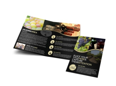 Winery & Wine Making Bi-Fold Brochure Template preview