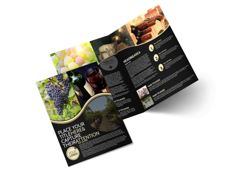 Winery wine making bi fold brochure template for Wine brochure template