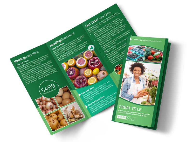 Healthy Farmers Market Tri-Fold Brochure Template