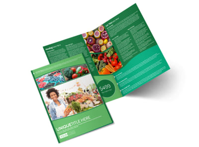 Healthy Farmers Market Bi-Fold Brochure Template