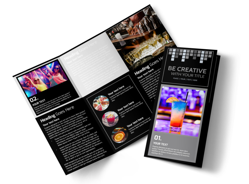 Funky Cocktail Lounge Tri-Fold Brochure Template