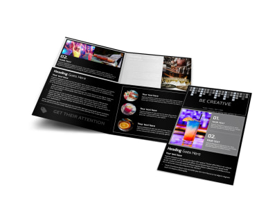 Funky Cocktail Lounge Bi-Fold Brochure Template
