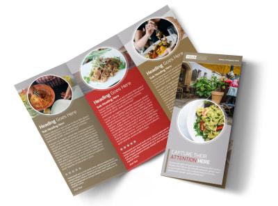 Al Dente Restaurant Tri-Fold Brochure Template preview