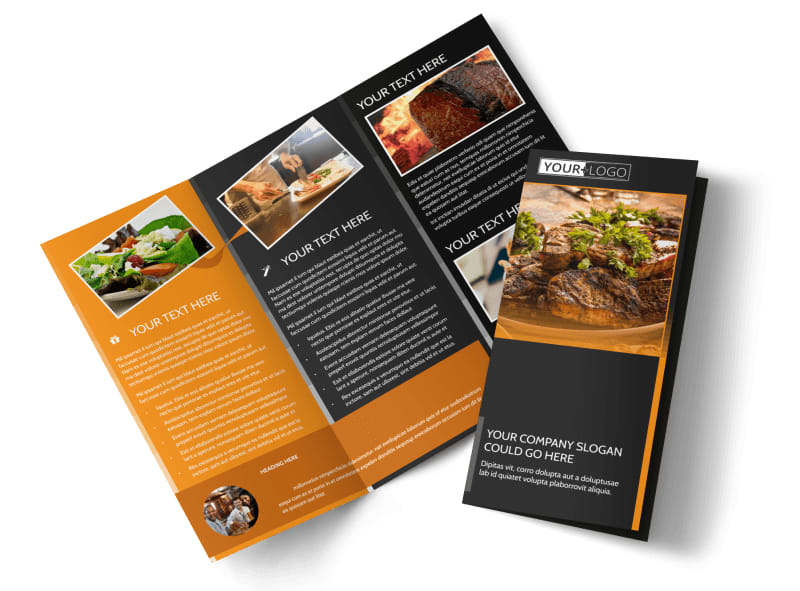 Local Steakhouse Tri-Fold Brochure Template