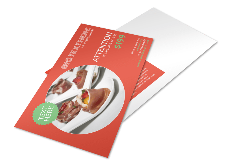 Oven Door Catering Service Postcard Template Preview 1
