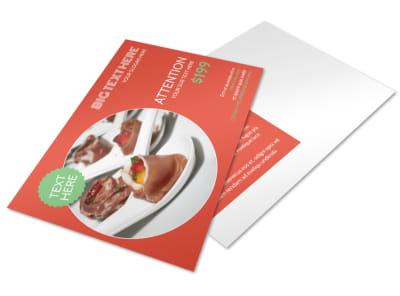 Oven Door Catering Service Postcard Template preview