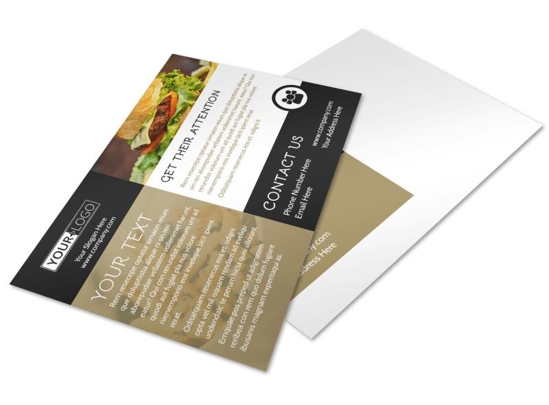 Great Burger Postcard Template