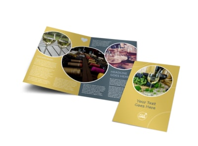 Wine & Spirits Bi-Fold Brochure Template preview