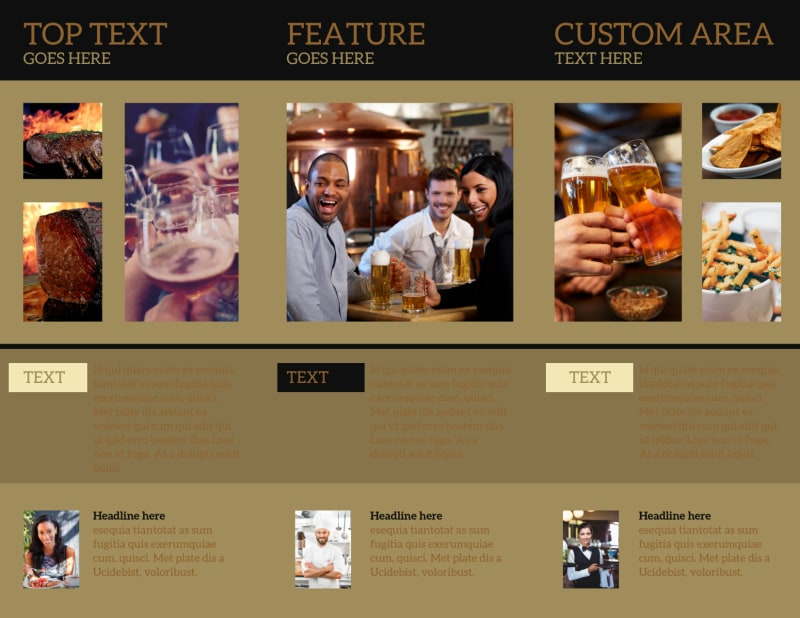 Bar & Grill Brochure Template Preview 3