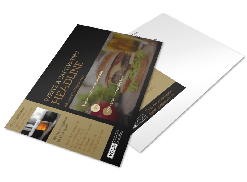 Bar & Grill Postcard Template