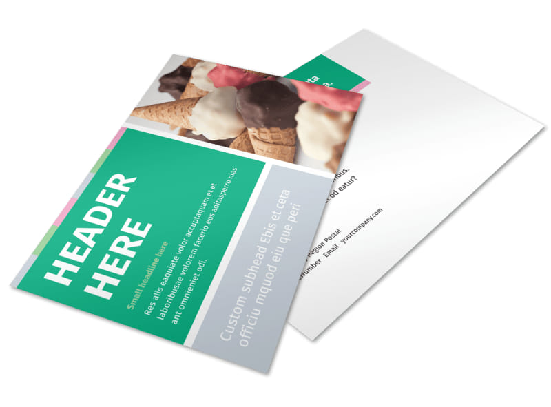 Ice Cream Shop Postcard Template