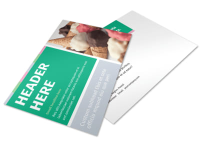 Ice Cream Shop Postcard Template preview