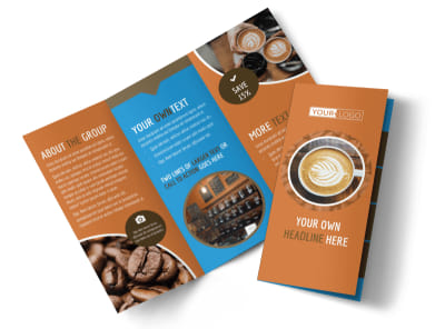 Hot Coffee Shop Tri-Fold Brochure Template preview