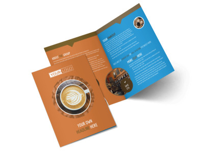 Hot Coffee Shop Bi-Fold Brochure Template preview