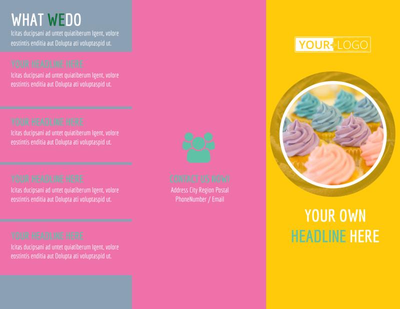 Sweet Cupcake Shop Brochure Template Preview 2