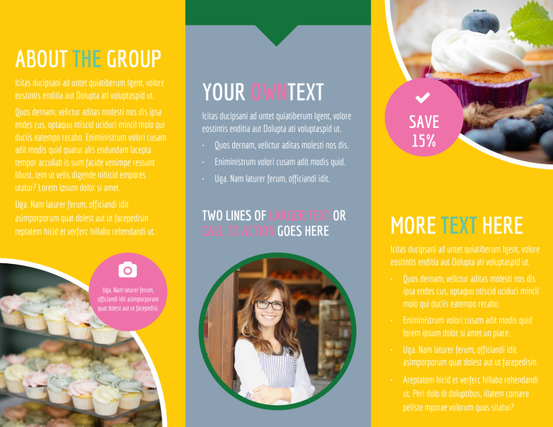 Sweet Cupcake Shop Brochure Template Preview 3