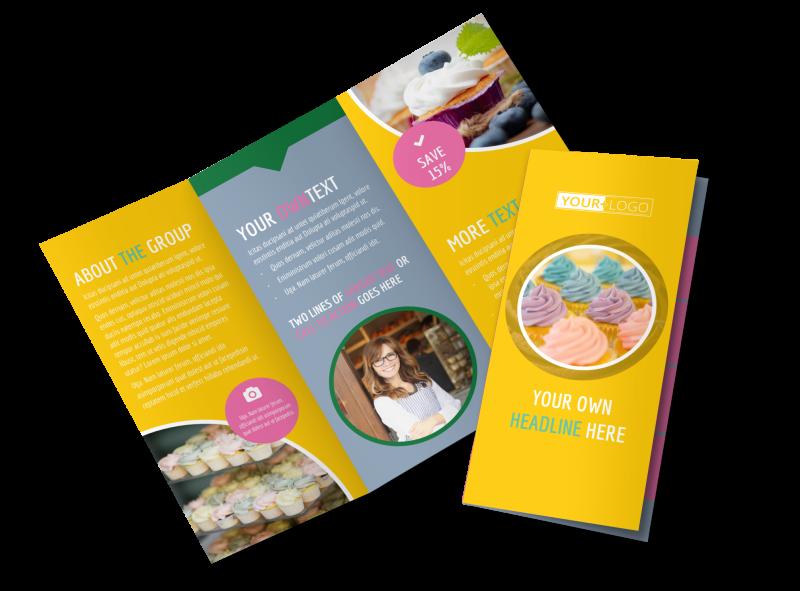 Sweet Cupcake Shop Brochure Template Preview 1