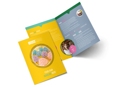 Sweet Cupcake Shop Bi-Fold Brochure Template