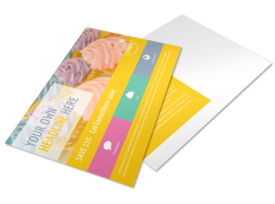 Sweet Cupcake Shop Postcard Template preview