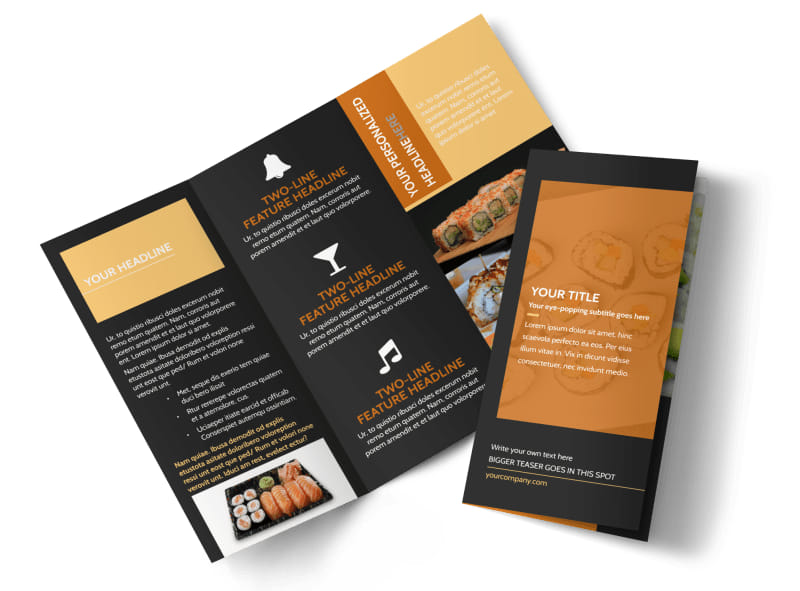 Cool Sushi Tri-Fold Brochure Template