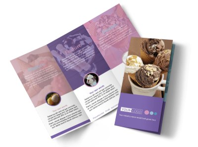 Sweets Ice Cream Shop Tri-Fold Brochure Template preview