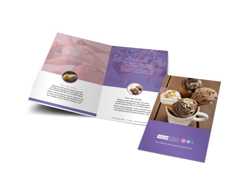 Sweets Ice Cream Shop Bi-Fold Brochure Template